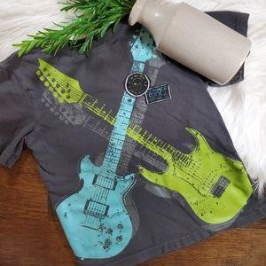 🌿5/$25 Jumping Beans Blue/Green Guitar Shirt 5/6